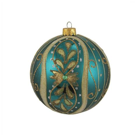turquoise and gold christmas ornament christmas ornament