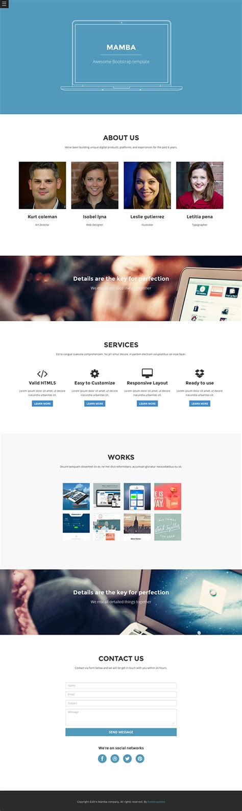 templates bootstrap one page mamba one page bootstrap template for free on behance