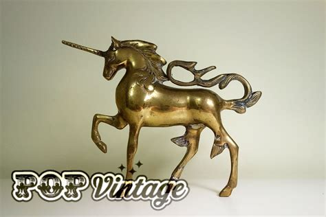 vintage brass unicorn home decor collectible by vintage brass unicorn pop vintage