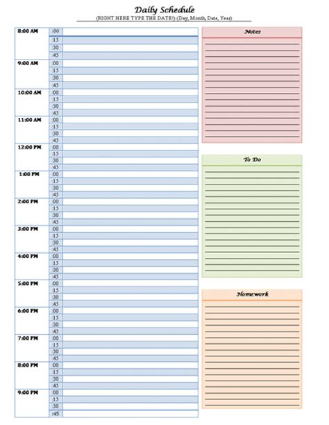 everyday schedule template daily schedule template word