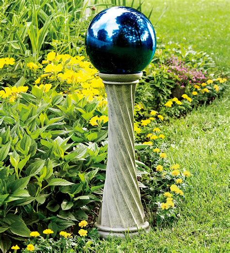 stainless steel gazing ball with 23 quot h twisted stand