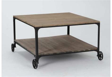 Table Basse Mã Tal Noir Table Basse Industriel 224 Roulettes Bois Brut Et M 233 Tal Noir