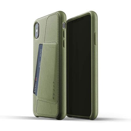 mujjo genuine leather iphone xs max wallet case olive