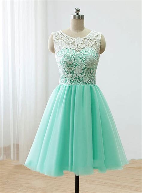 Handmade Prom Dresses - handmade mint chiffon prom dress with lace