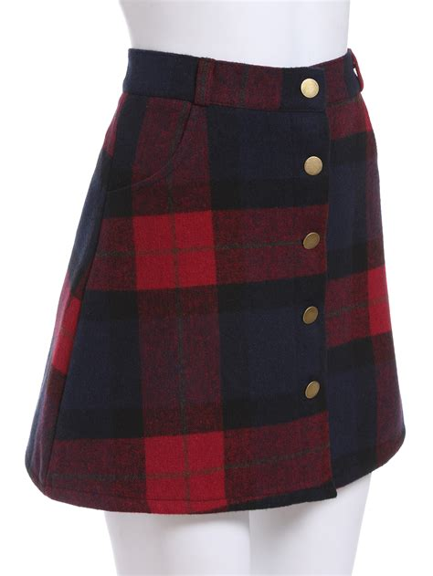plaid single breasted a line skirtfor romwe