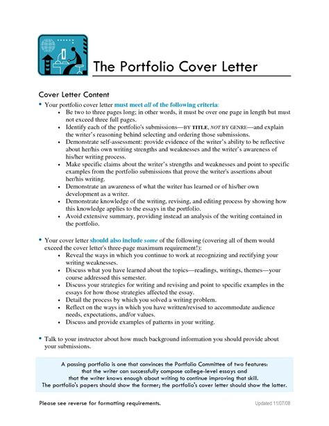 cover sheet for portfolio sle cover letter templates