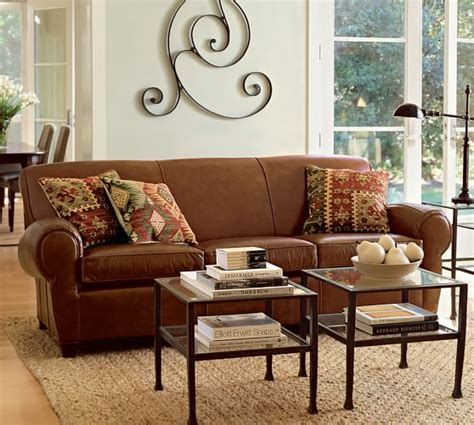 manhattan leather sofa pottery barn