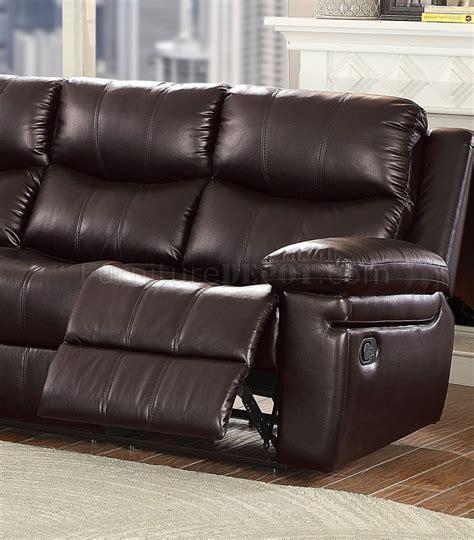 lavinia reclining sofa 53955 in espresso leather aire