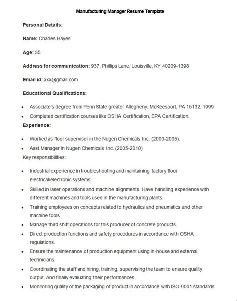 Manufacturing Resume by Resume For Manufacturing Resume Ideas