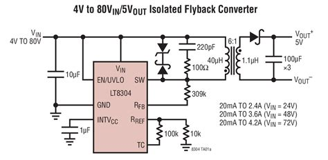 flyback diode types lt8304 100vin micropower no opto isolated flyback converter with 150v 2a switch4 linear
