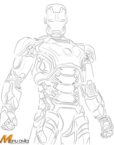 iron man heartbreaker coloring pages iron man mark 42 line art by tagadum on deviantart