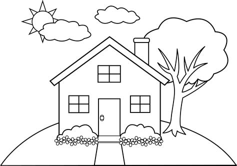 house coloring line art of a little hill house free clip art