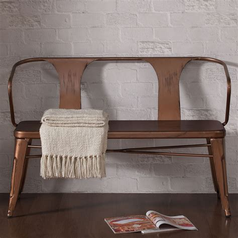 Tabouret Bench by Tabouret Brushed Copper Brown Metal Bench So Homey In
