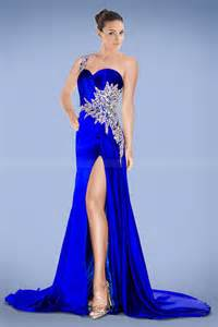 royal blue dress compelling one shoulder royal blue prom dress with crystals and split front prom dresses