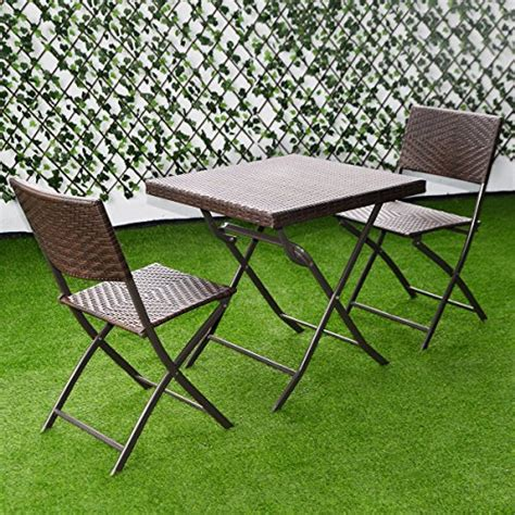 B Q Bistro Chairs Giantex 3 Pc Outdoor Folding Table Chair Furniture Set Rattan Wicker Bistro Patio Brown Home
