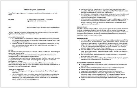 Affiliate Program Agreement Template Microsoft Word Affiliate Program Template