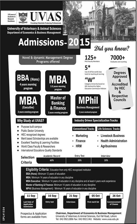 Mba Programs For Veterinarians by Of Veterinary Uvas Bba Mba Admission 2015