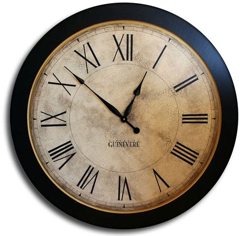 large wall clock 24in cambridge tan or linen by theclockhouse 24in large antique style big wall clock art by theclockhouse