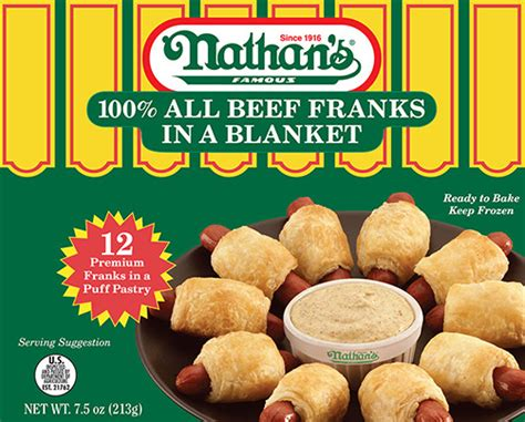 frozen hot dogs for pigs in a blanket 100 all beef franks in a blanket nathan s famous