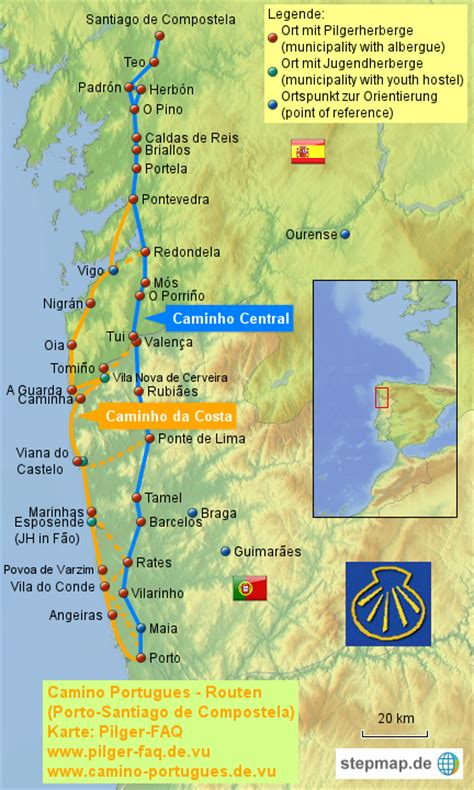 camino portuguã s lisbon porto santiago central and coastal routes books camino portugues k 252 stenweg pilgerfaq landkarte f 252 r