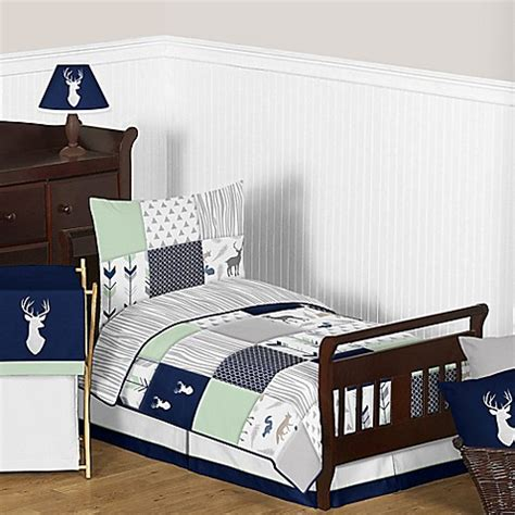 navy toddler bedding sweet jojo designs woodsy toddler bedding collection in