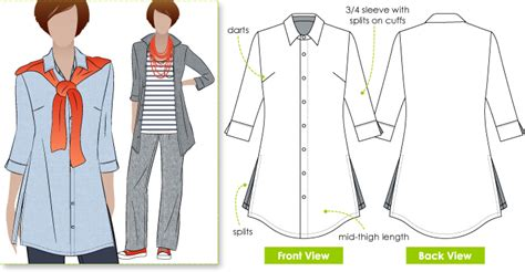 pattern shirt images stylearc sacha shirt