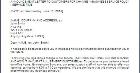 announcement customers change service