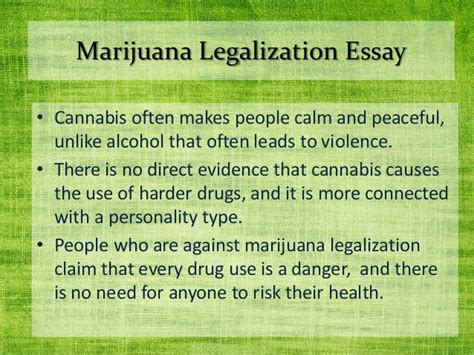 Legalization Of Marijuana Essays by Essays About Marijuana Dissertation Abstracts And Dominic Crossan