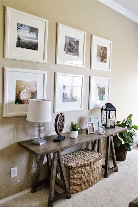 entry way living room decor ikea picture frame gallery wall sofa table decor tucker