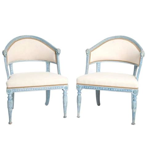 tub armchairs for sale pair of blue painted late