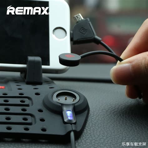 Remax Car Holder Charger remax car holder with micro usb lightning charger function black