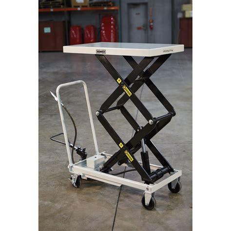 roughneck air hydraulic lift table cart 770 lb capacity