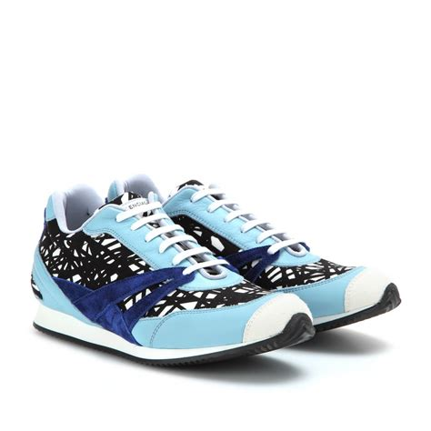 balenciaga blue sneakers balenciaga printed leather sneakers in blue marine lyst