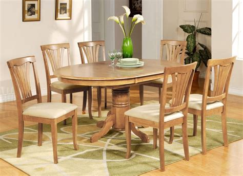 Light Oak Kitchen Table 7 Pc Avon Oval Dinette Kitchen Dining Table W 6 Upholstery Chairs In Light Oak Ebay