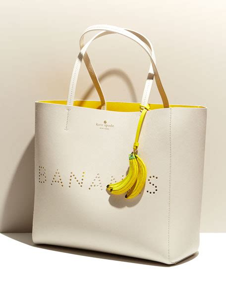 Tote Bag Banana by Kate Spade New York Hallie Leather Bananas Tote Bag Cement