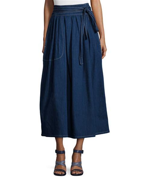 Tie Waist Denim Midi Wrap Skirt marc dirndl denim wrap midi skirt navy