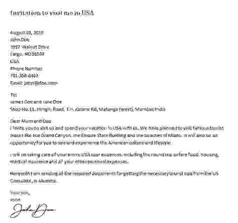invitation letter   visa sample letters  invitation  visitor visa
