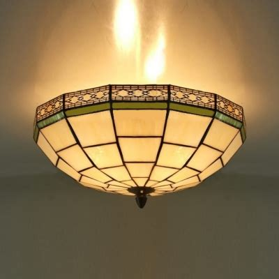 stained glass flush mount ceiling light 16 inch white stained glass green edge 3 light