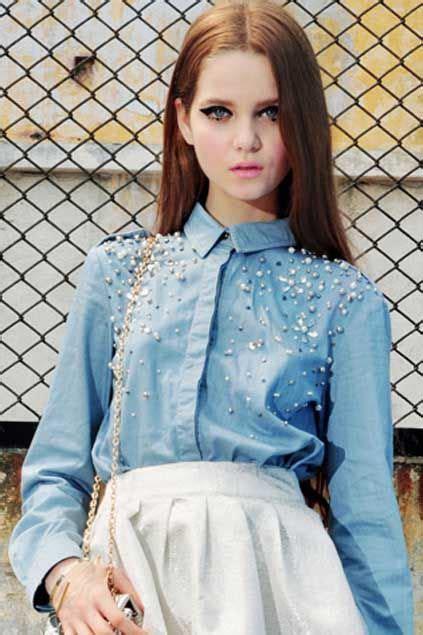 Wakai Blue Denim 39 43 best 25 denim blouse ideas on ruffle blouse