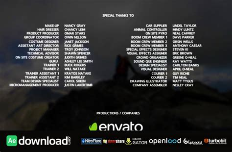 credits template credits free videohive free after