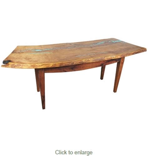Mesquite Desk by Rustic Curved Mesquite Desk Table With Turquoise Inlay
