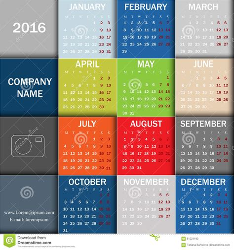 Calendar Graphic Calendar For 2016 Week Starts Monday Info Graphic Design