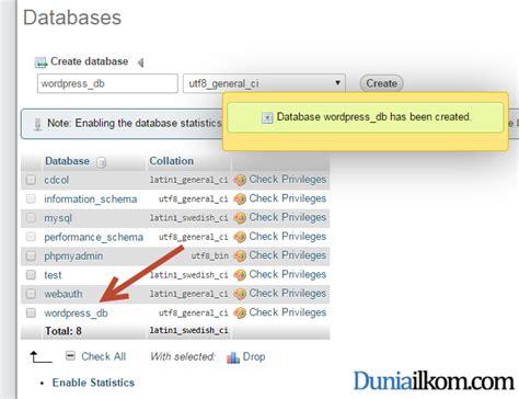 belajar membuat database dengan mysql cara membuat database mysql dengan phpmyadmin duniailkom