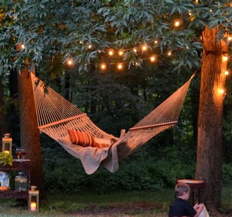 backyard hammock gardens string lights and backyards