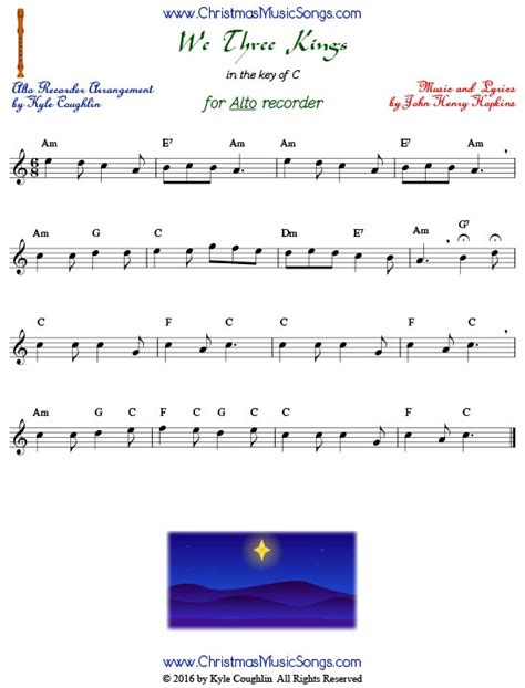 Delightful Where Are You Christmas Sheet Music Pdf #5: We-three-kings-for-alto-recorder.jpg
