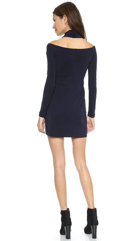 long sleeve shoulderless dress marine in