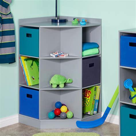 riverridge kids 6 cubby 3 shelf corner cabinet riverridge kids 6 cubby 3 shelf corner cabinet in gray 02