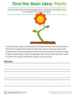 Finding The Idea Worksheets by Finding The Idea Plants Worksheet Education
