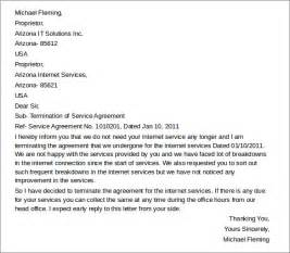 termination of service agreement template sle termination letters 8 termination of services