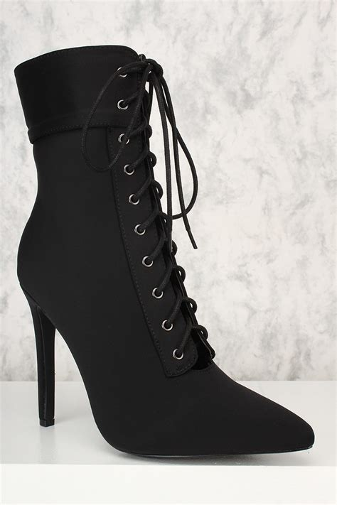 black lace up high heel booties black lycra front lace up pointy toe high heel booties